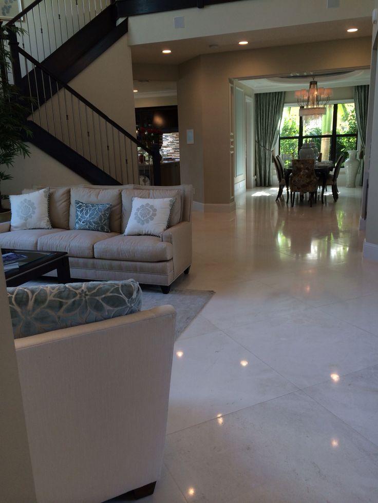 Large polished porcelain tile floor