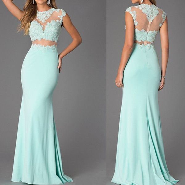 Two-Piece Mint Lace High Neck Bare-Midriff Floor Length Prom Dress on Luulla