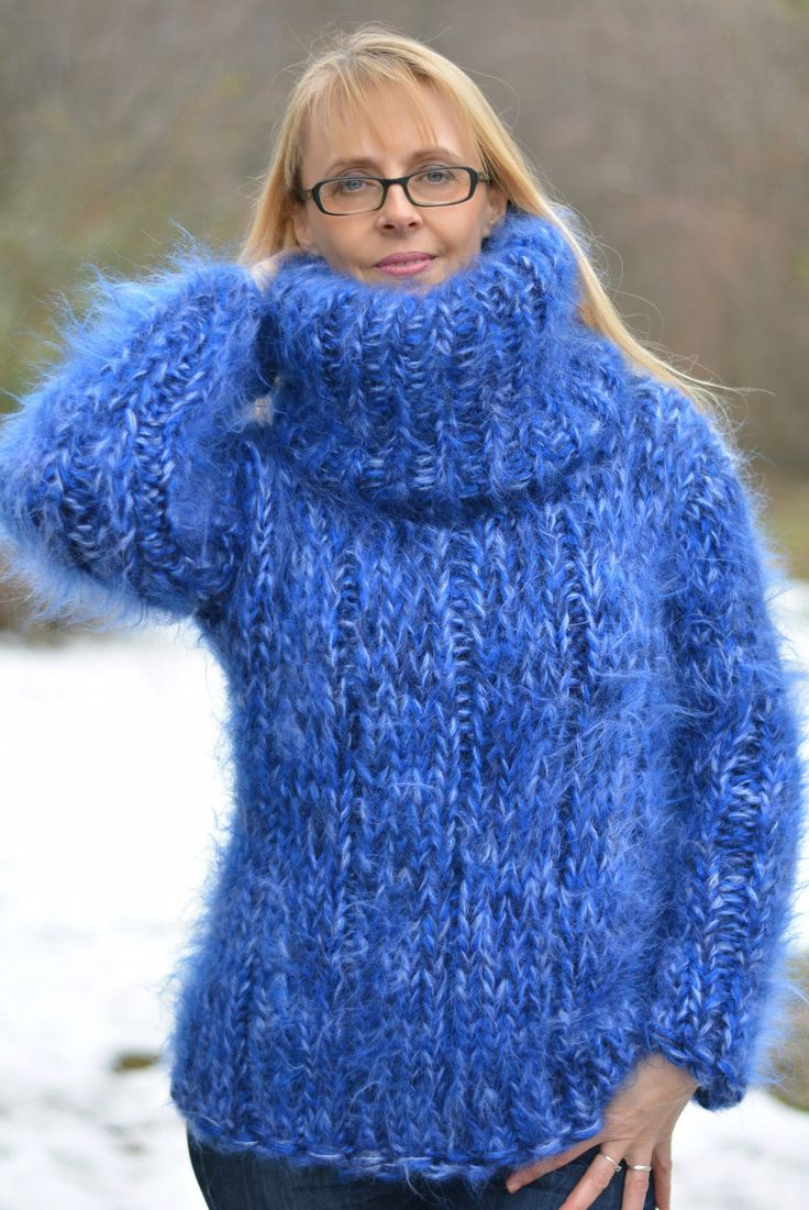 DUKYANA Hand Knit Mohair Sweater New Thick Jumper CHUNKY Pullover ...