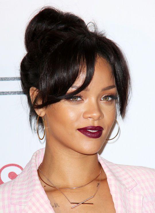 Rihanna in a gorgeous dark berry lipstick
