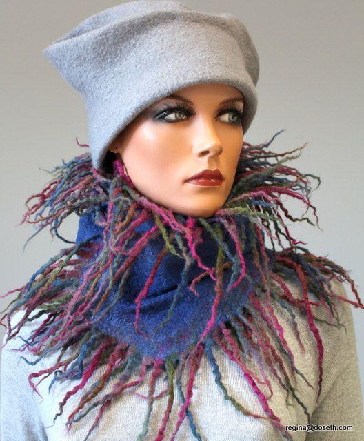 """Верх из длинный шарф с бахромой """"Сине-зеленые полосы фиолетовые-"""""""
