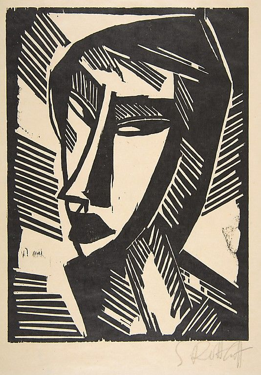 Karl Schmidt-Rottluff (1884–1976). Head of a Girl, 1915, Woodcut