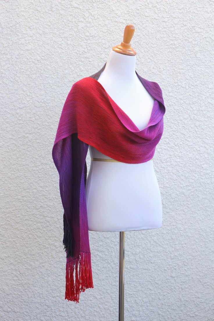 """Hand woven scarf, pashmina in pink, fuchsia and purple colors. Perfect #gift for her! This woven scarf is very soft and drapes nicely!Measures:L: 78"""" with 6"""" fringe on both... #kgthreads #accessories #cozy #fall #fashion #gradient #unisex #women #wrap"""