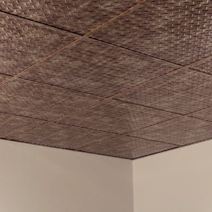 Fasade Diamond Plate Revealed Edge Bermuda Bronze 2-foot Square Lay-in Ceiling Tile