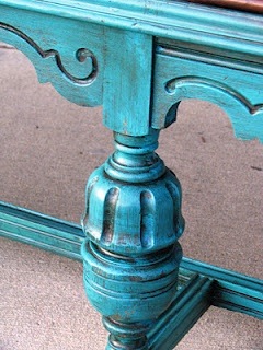 Aruba Blue is from Benjamin Moore paints. And the glaze is Faux Effects Stain and Seal in Van Dyke Brown.