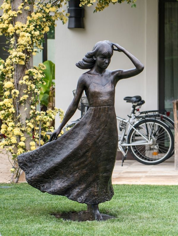 By Anthony Smith Titled: U0027Girl With Flowing Dress (life Size Yard Garden  Statue)u0027.