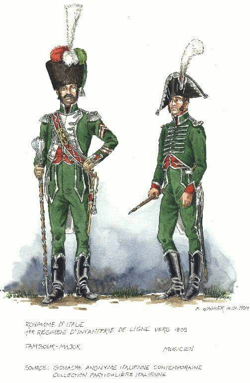 Italy; 1st Line Infantry, Drum-Major & Musician, 1809