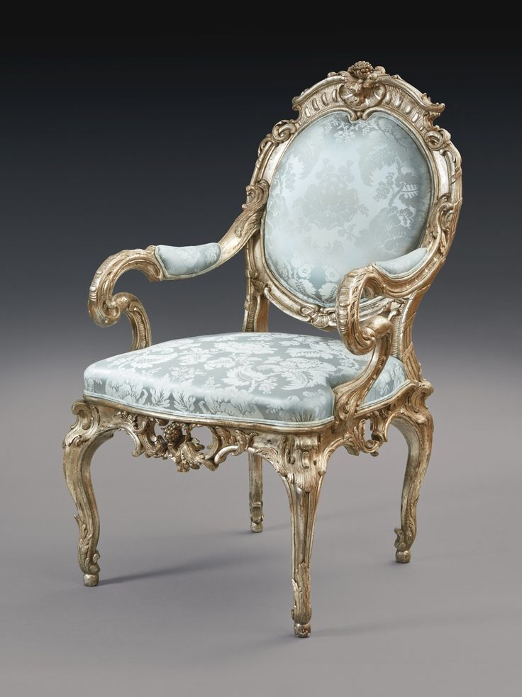 A German Rococo Silvered Armchair, Attributed to Johann August Nahl, Potsdam,  circa 1744-46