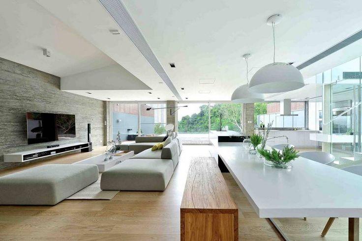Casa Sustentável Como Tributo à Tecnologia Moderna-salas de estar e jantar