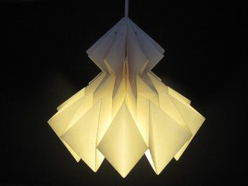 9 Pendant Lights With Origami Allure (9 / 10) Modern and crisp. Jaycie Origami Lampshade, White, by Jaycieydesigns $68.00	 Product Specifications:      Sold By:Etsy | Visit Store »     Category:Lamp Shades     Style:Contemporary