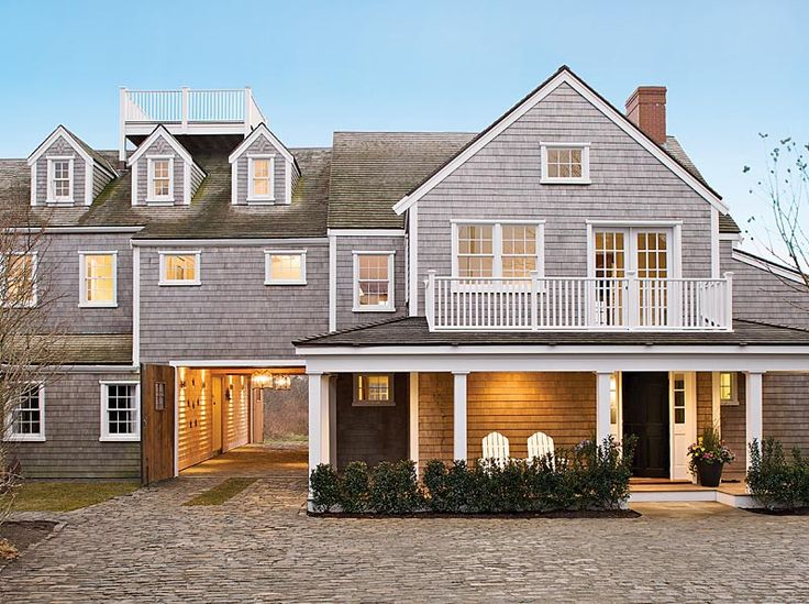 Grey shingled house widow 39 s walk dormers pass through for Nantucket shingle style