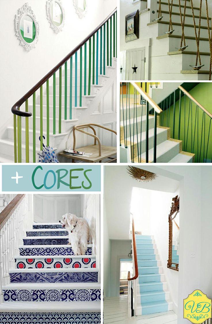 Escadas coloridas! Tapetes e revestimento..