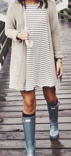 #fall #fashion / stripped dress + knit cardigan
