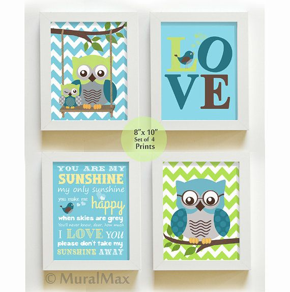 You are my sunshine - Nursery Decor - Owl Nursery Art - Love - Baby Boy Room Decor - Print set via Etsy