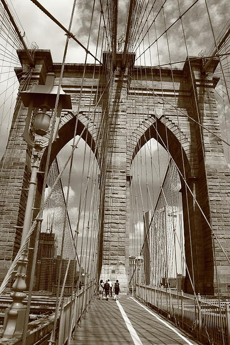 Brooklyn Bridge - New York City. In sepia.: Pedestrian Decks, New York Cities, Favorite Places, Art Photography, Cable Leaded, Brooklyn Bridges, B W Photography, Steel Cable, East Rivers
