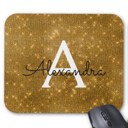 Gold Sparkle Glitter Monogram Name Mousepad - monogram gifts unique design style monogrammed diy cyo customize