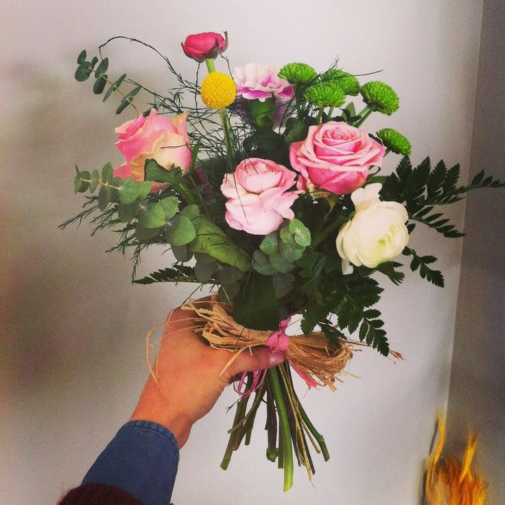 Lovely bouquet in shades of dark green and pink