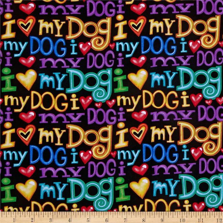 Timeless Treasures I <3 My Dog Words Black from @fabricdotcom  Designed by 245 Design for Timeless Treasures Fabrics, Inc., this cotton print fabric is perfect for quilting, apparel, crafts and home décor accents. Colors include yellow, orange, purple, cobalt blue, red and turquoise on a black background.