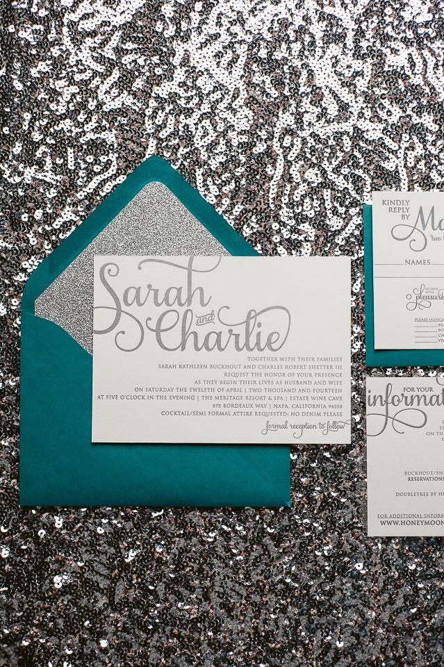 Peacock Teal and Silver Glitter Wedding Invitations