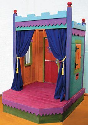 Slideshow       Kid'sTheater is both a Theater and a Playhouse. Draw the curtainsand create a Playhouse with Dutch door and shuttered window. Open the curtainsand the Stage is set for a grand performance.