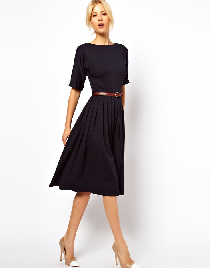 Asos Midi Dress with Full Skirt and Belt in navy