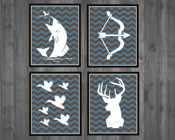 Hunting Nursery Prints Boys Chevron Prints Boys by Raising3Cains