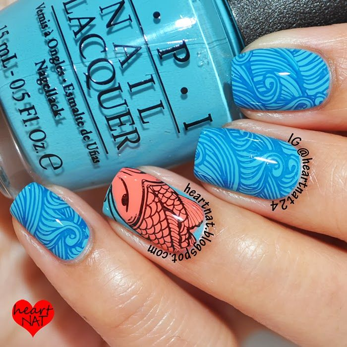 From the blog of Heartnat she created this with MM29 Nail stamping plate from Messy Mansion