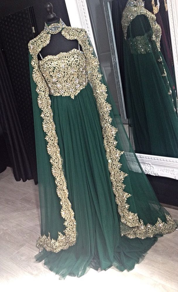 Moroccan Kaftan Arabic Designer Wedding Dress Prom Gown Christening Maxi Green