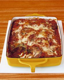 Baked-Eggplant Parmesan  The eggplant slices are baked, not fried, in this eggplant Parmesan. This hearty vegetarian main dish can be made a month ahead and frozen so it's ready for your next family meal.