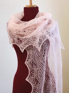 All Knitted Lace shawl Estonian 2x2 gathered stitch