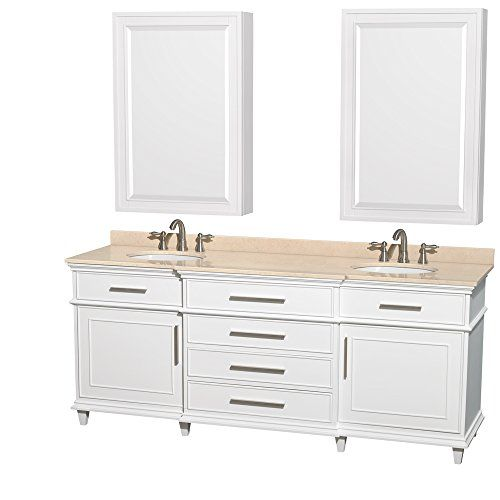 Photo On Wyndham Collection Berkeley inch Double Bathroom Vanity in White Ivory Marble Countertop Undermount Round Sinks