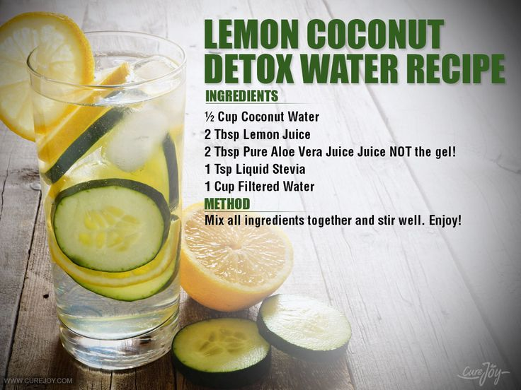This Lemon Coconut detox water recipe is full of flavor and loaded with health benefits. This detox water recipe includes powerful ingredients including coconut water, aloe vera juice, and lemon juice. Lemon Coconut detox water is also great for jump-starting your weight loss plan and helping to eliminate toxins. -Lemons