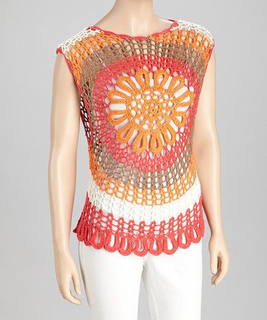 Take a look at this Coral & Orange Crocheted Sleeveless Top by SR Fashions on #zulily today!