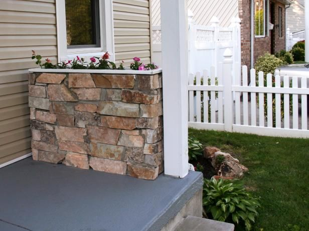 Dress up your porch or patio with a stone planter box. Full instructions >> http://www.hgtv.com/design/make-and-celebrate/handmade/how-to-build-a-stone-planter?soc=pinterest