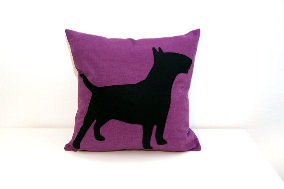 Radiant Orchid Bull Terrier cushion cover by #ItsTimeToDream.   instagram.com/delfina_ittd www.ItsTimeToDream.etsy.com