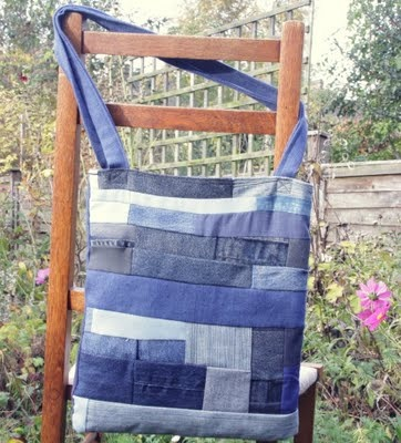 """denim scrap bag.. I don't think it's pretty """"alone"""" but with some embroidery embellishing - I could carry this..."""