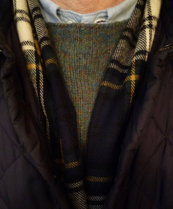 """heavytweedjacket: """"Friday under blue skies. Barbour Liddesdale, Harley Shetland in jade, and an old gusseted 1950s B² OCBD with no pocket. I have two of these scarves, and can no longer remember where either of them came from. """""""