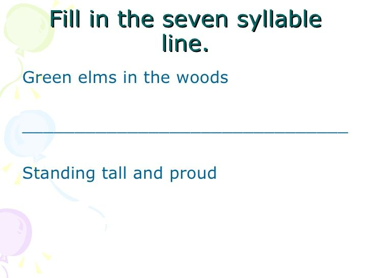 Nice powerpoint slideshow for haiku. Great scaffolding for teaching.
