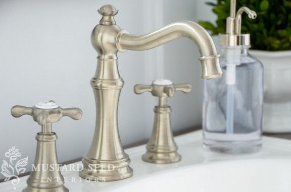 Sink faucet: Moen Weymouth Faucet in brushed nickel, National Builder Supply {Miss Mustard Seed}