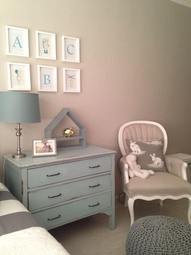 Grey, blue & beige baby room
