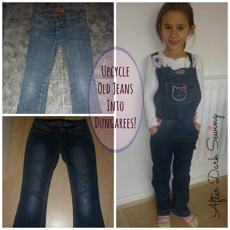 Upcycle old jeans into girls' dungarees! @AfterDarkSewing