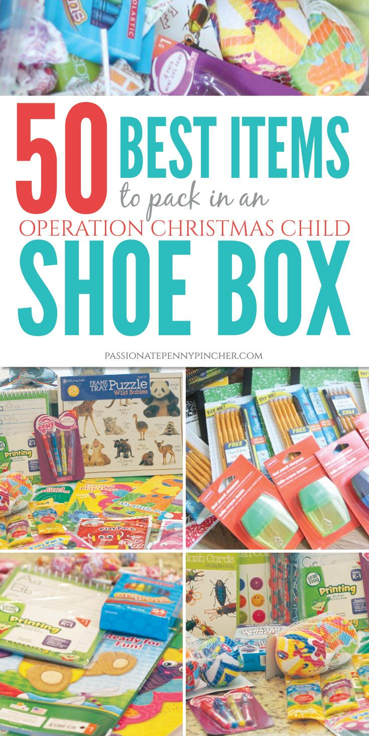 50 Best Items to Pack in an Operation Christmas Child Shoebox. Passionate Penny Pincher is the #1 source printable & online coupons! Get your promo codes or coupons & save.