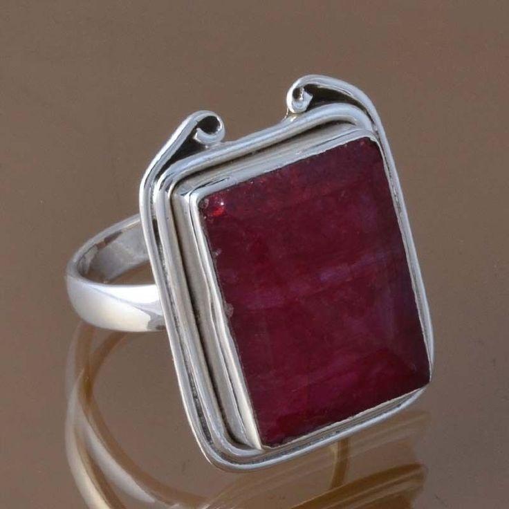 925 SOLID STERLING SILVER HOT RUBY RING 8.91g DJR8346 SZ-7.75 #Handmade #Ring
