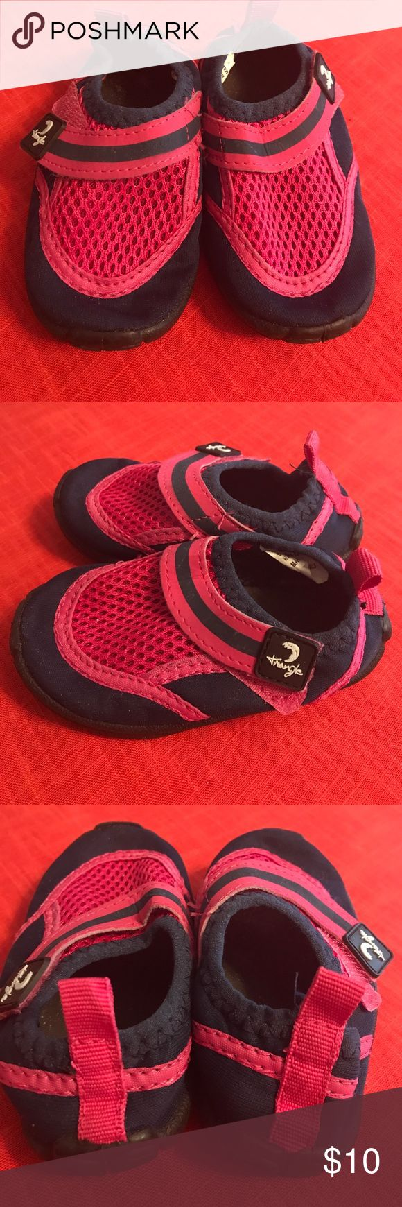 Girls Water Shoes Pink and navy blue water shoes. Worn about twice. Velcro strap. Size 5. Shoes Water Shoes