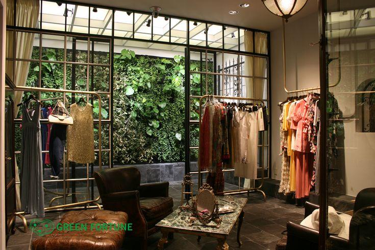 Green Fortune plantwall / vertical garden in shop / retail space. In Tokio, Japan.