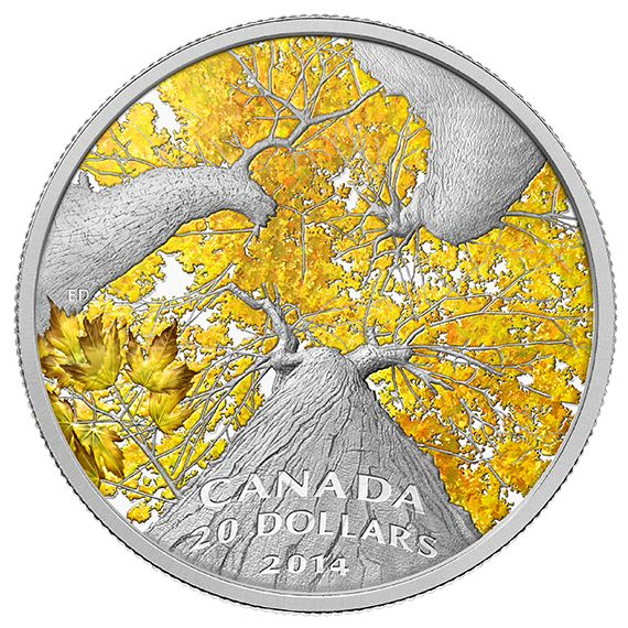1 oz. Fine Silver Coin - Maple Canopy: Autumn Allure - Mintage: 7,500 (2014)
