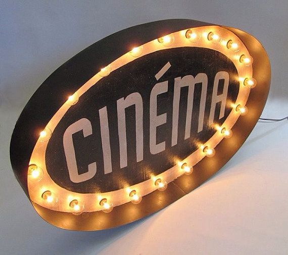 Light Up Theater: CINEMA Large Light Up Theatre Marquee Sign