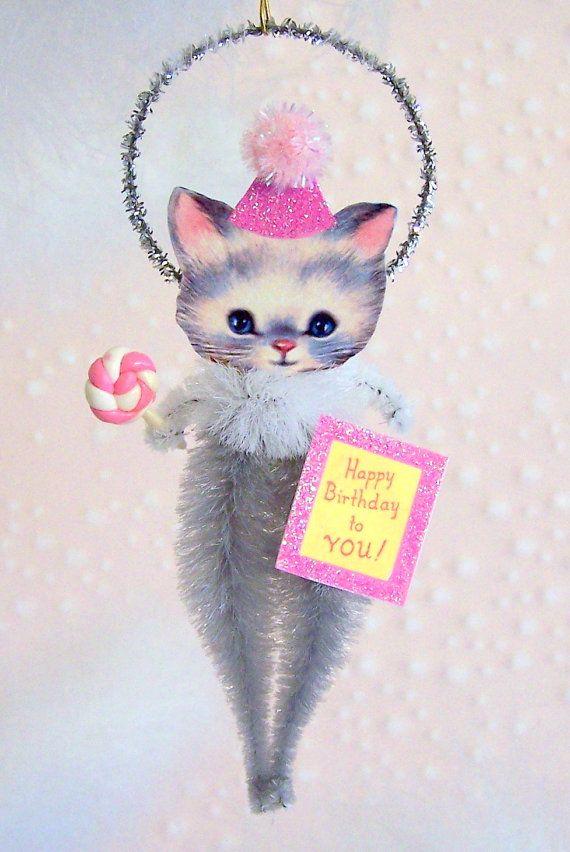 Vintage Kitten Birthday Ornament Decoration by TreePets on Etsy, $12.95