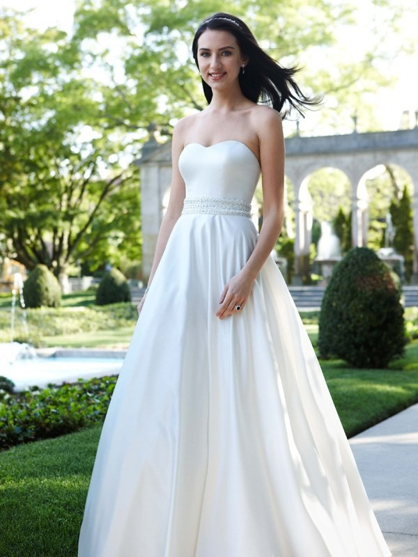 Beautiful David us Bridal Wedding Dress Strapless Satin A Line with Beaded Waistband Style Ivory Simple yet chic this stunning strapless A line gown