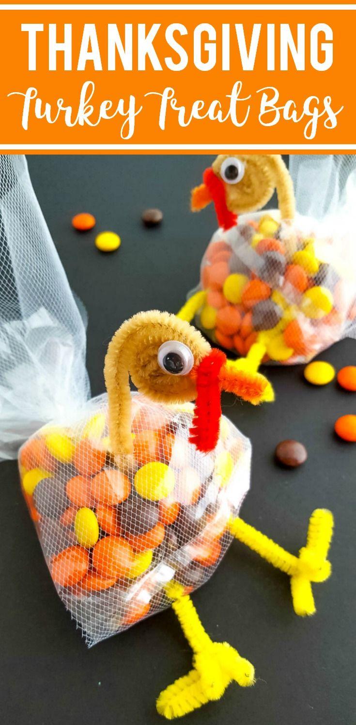 Thanksgiving Turkey Treat Bags for Kids - Fun Craft Idea for Turkey Day! #Thanksgiving